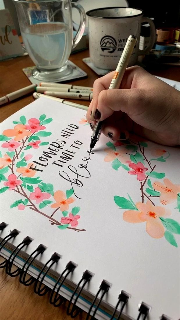 Watercolor Floral Wreath With Brush Pens Floral Wreath