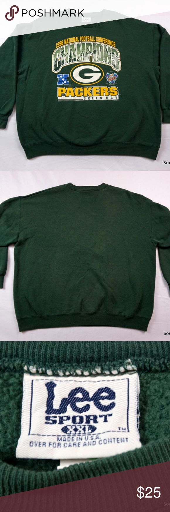 """VTG Green Bay Packers Super Bowl XXXI Sweatshirt Vintage Green Bay Packers Sweatshirt, Adult XXL, 2XL, 1996 Super Bowl Green Bay Packers Crew Sweatshirt, Packers Sweatshirt, 90s Fashion  Brand:     Lee Sports Size:       Men's XXL, 2XL Color:      Green / Yellow Material: 50% Cotton, 50% Polyester  Made in the USA!  Detailed Measurements: (Front Side of Garment has been measured laying flat on a table)  Sleeves:..............22"""" inches  Chest:.................30"""" inches Length:……"""