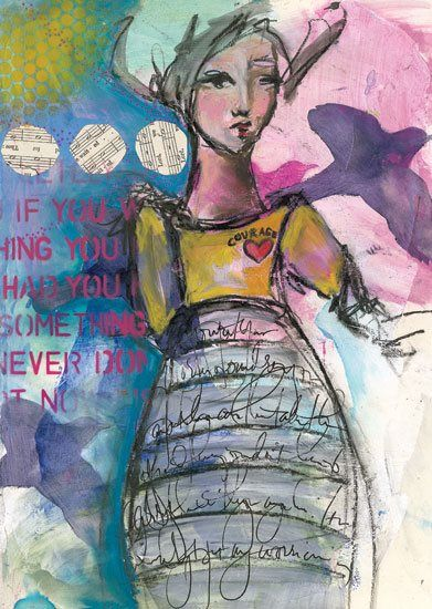 """""""Let's stop the self-doubt & negative self-talk and open yourself up to possibility & progress."""" Dina Wakley, author of Art Journal Courage. Read more here. #mixedmedialove #artjournaling"""