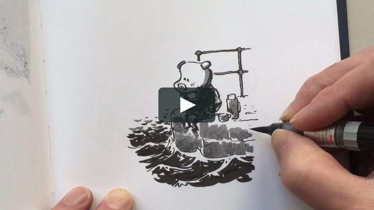 I'm doodling a piggy on a pier Ink on paper 2017