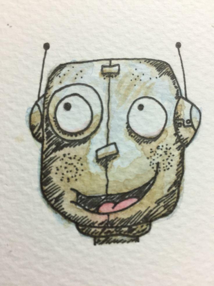 Ilustración realizada en acuarela, @laringas @Mabunaface #Mabuna #Watercolor #Acuarela #Robot