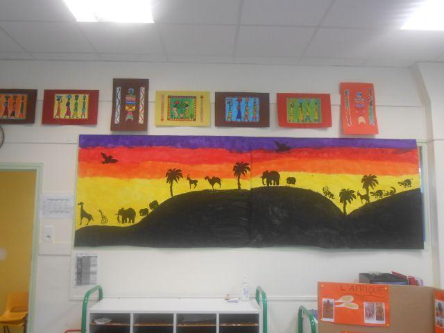 fresque de la savane - Exposition sur l'Afrique PS/GS - Galerie - Forums-enseignants-du-primaire