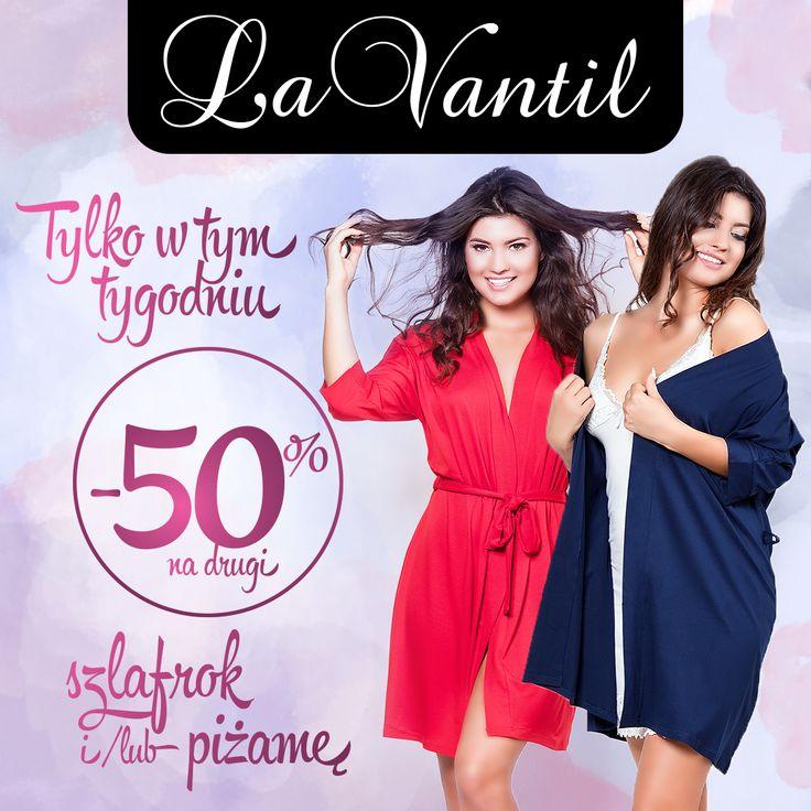 Nowa promocja w La Vantil! -50% rabatem objęte są wszystkie szlafroki i piżamy, ale to nie wszystko – do promocji dołączamy także bawełniane koszule nocne! Wystarczy że wybierzesz szlafrok i piżamę, lub dwa szlafroki, lub dwie piżamy a tańszą rzecz otrzymasz za PÓŁ CENY! Promocja trwa do 11/10/2016, nie łączy się z innymi rabatami. Szczegóły i regulamin w Salonie La Vantil