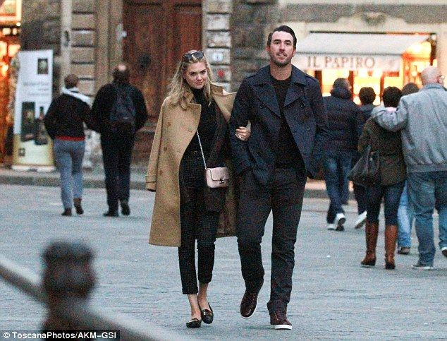 Can't keep their hands off each other! Kate Upton and fiancé Justin Verlander looked as in love as ever while strolling arm-in-arm in Florence, Italy on Saturday