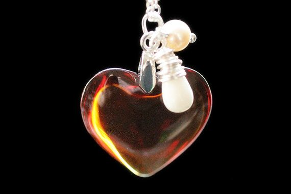 Amber Heart Necklace in Silver. Golden Amber Heart Necklace with Wire Wrapped Teardrop and Pearl. Glass Heart Pendant. Handmade Necklace. by TheTeardropShop from The Teardrop Shop. Find it now at http://ift.tt/XXZplw!