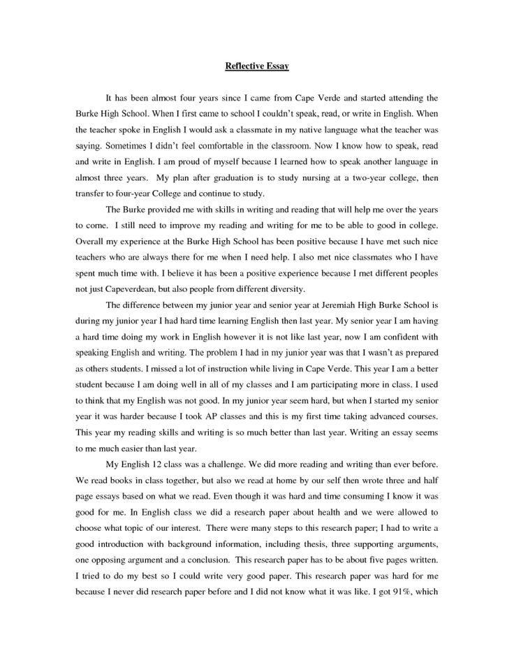 The  Best Reflective Essay Examples Ideas On   How To