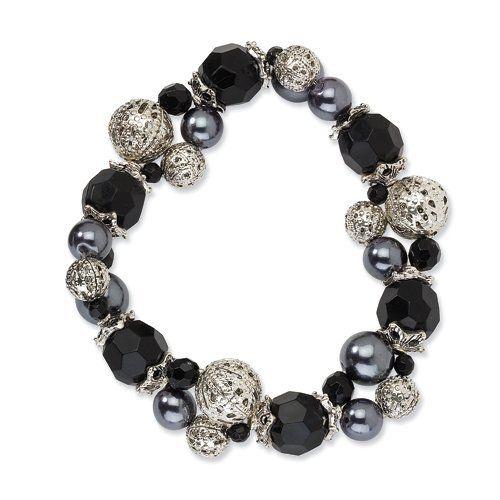 Silver-Tone Black & Hematite Acrylic Beads Stretch Bracelet 1928 Jewelry. $16.00. Save 73% Off!