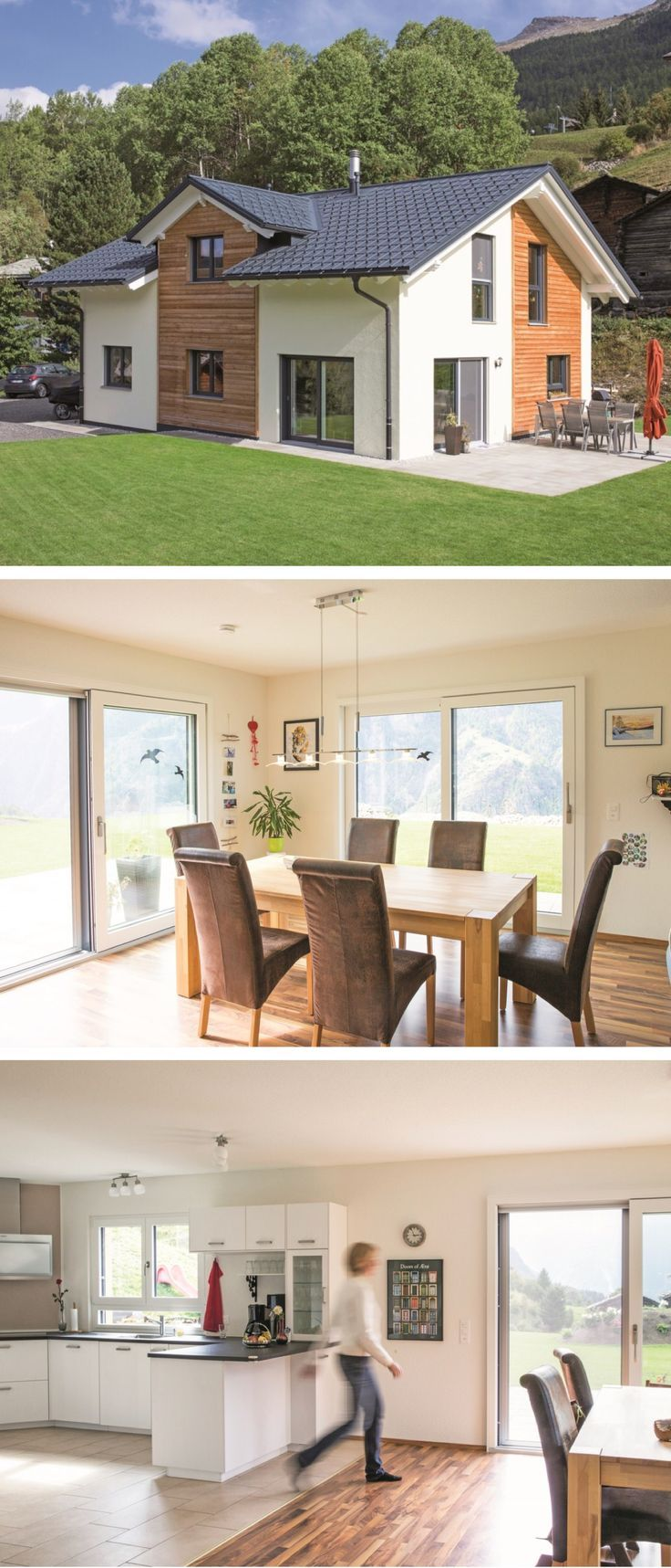 Satteldach-Haus modern im Alpenstil mit Holzfassade – Einfamilienhaus- Architektur WeberHaus Fertighaus Balance – HausbauDirekt.de   – aubenkuche.todaypin.com