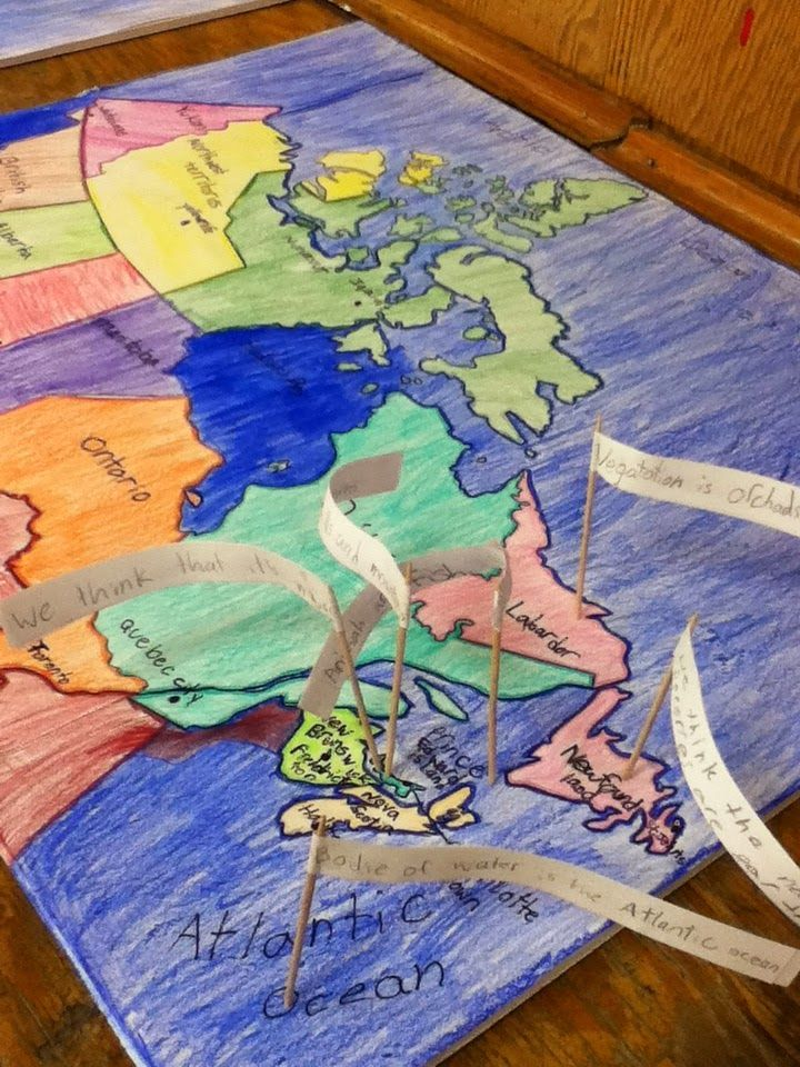 Before learning about each geographical region of Canada, students record what they think they know about the region on a map.