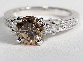 Trio Princess Cut Pavé Diamond Engagement Ring in 14k White Gold #BlueNile
