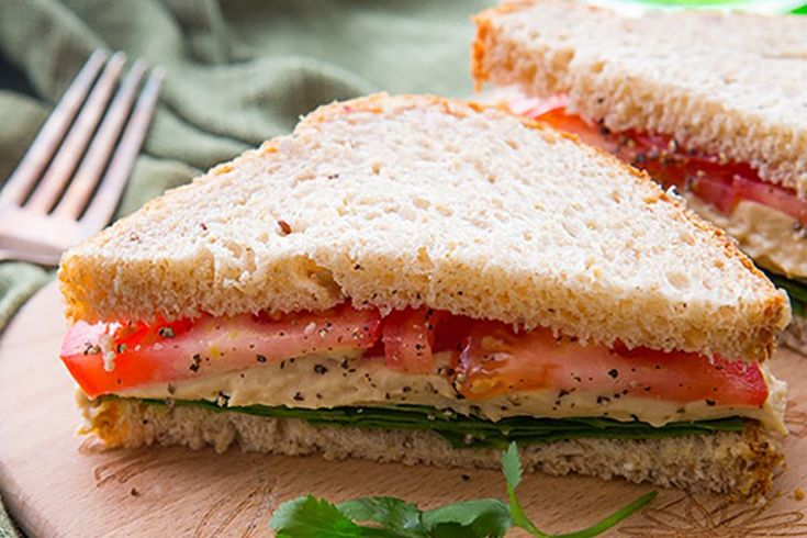Tomato-Hummus-and-Lettuce-Sandwich Sub bread with low carb tortilla