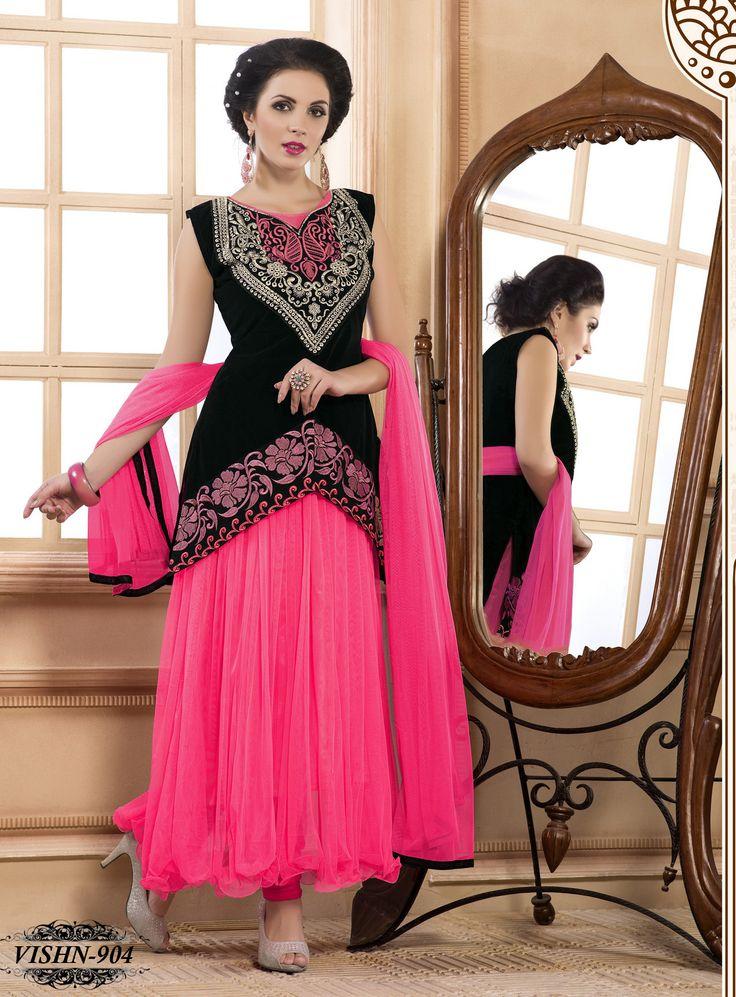 Shonaya Anarkali Pink Designer Embroidered Net Semi Stiched Salwar Suit