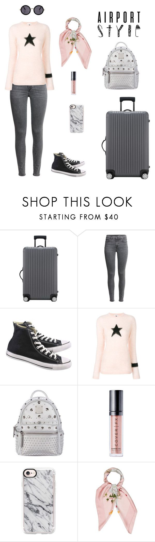 """Untitled #481"" by jesica-d-psc ❤ liked on Polyvore featuring Rimowa, Converse, Bella Freud, MCM, Cover FX, Casetify, Hermès, The Row and airportstyle"