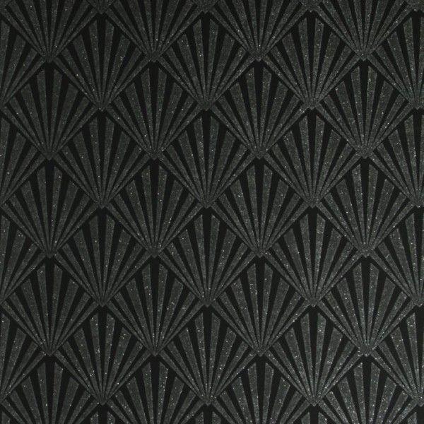 Czarna tapeta Art - Deco z połyskującym wzorem wachlarzy /  Black wallpaper Art - Deco pattern of shimmering fans