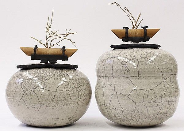 Rauyl Nakayama mixed media studio pottery jars