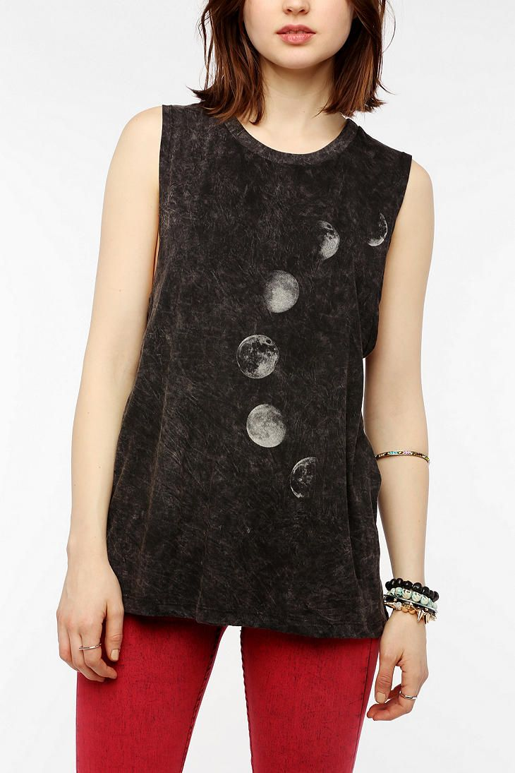 "Project Social: T Moon Phases Muscle Tee / ""Super-soft cotton muscle tee from Project Social T in a mineralized wash. Topped with graphic depicting phases of the moon at the front. Ribbed scoopneck; dropped armholes. Relaxed fit."""
