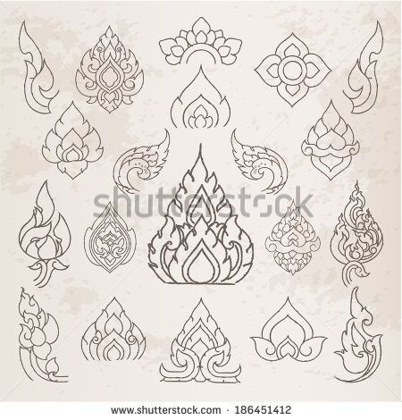 Doodle Thai arts pattern and design elements and page decoration - lots of…