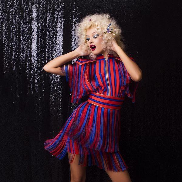 Red & Blue Striped Mini Dress