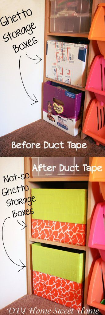 Using diaper boxes as storage bins, just wrap with duct tape in colors and patterns for an easy, and cute, DIY project! LOVE- plus if they do get torn up, they didn't cost much!