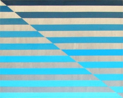 """Blue Stripes :   My first experiment with using a palette knife to achieve a smooth finish.    Medium: Acrylic on Canvas  Size: 24"""" x 18"""""""