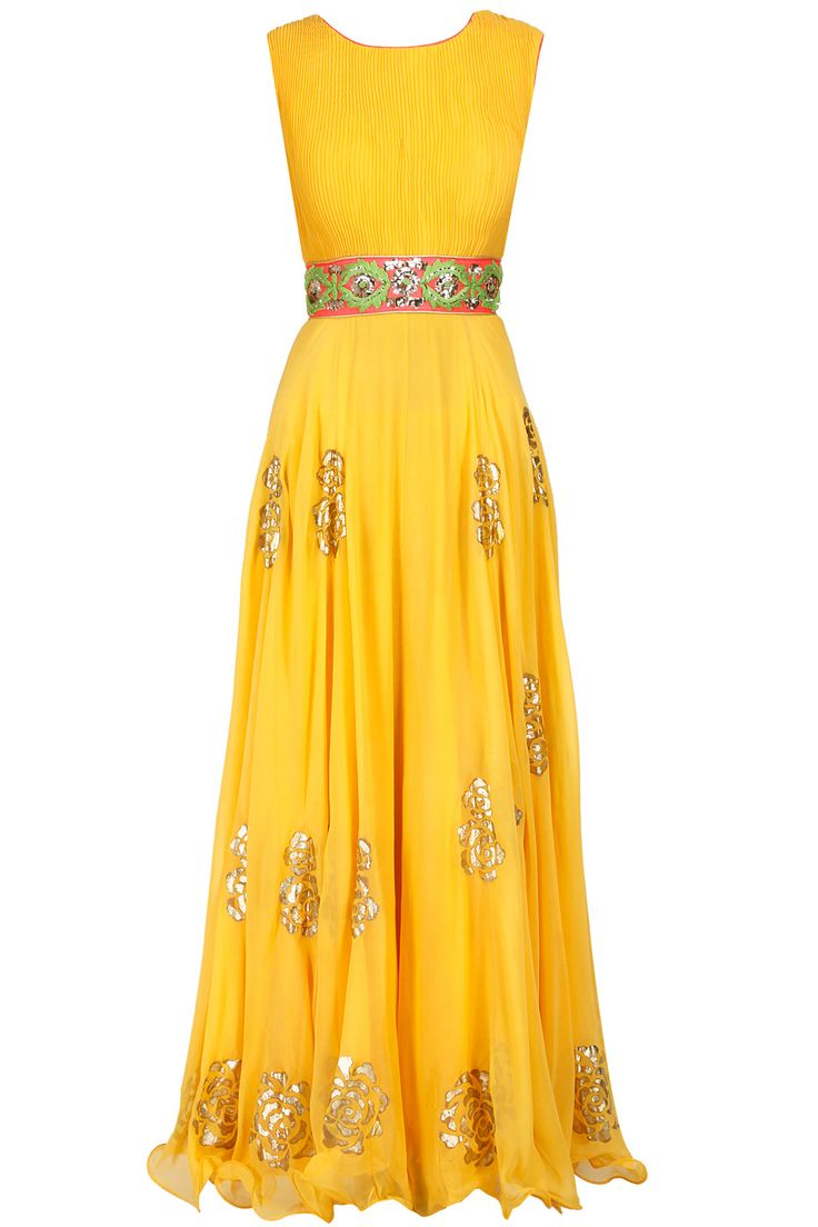 Yellow and pink embroidered anarkali set available only at Pernia's Pop-Up Shop.