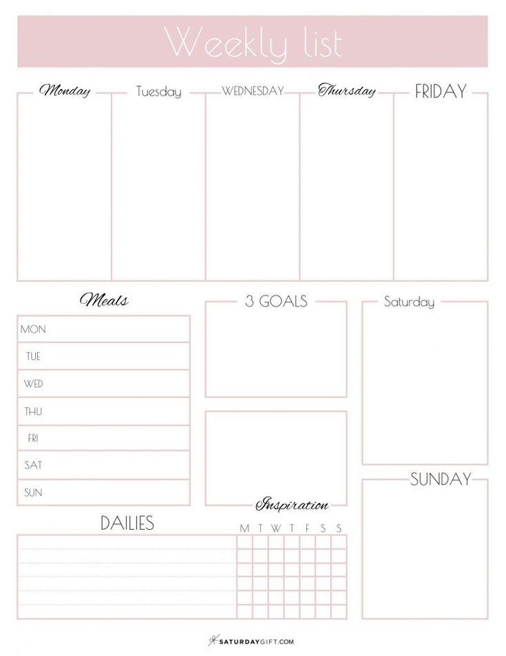 Weekly list planner {free printable}