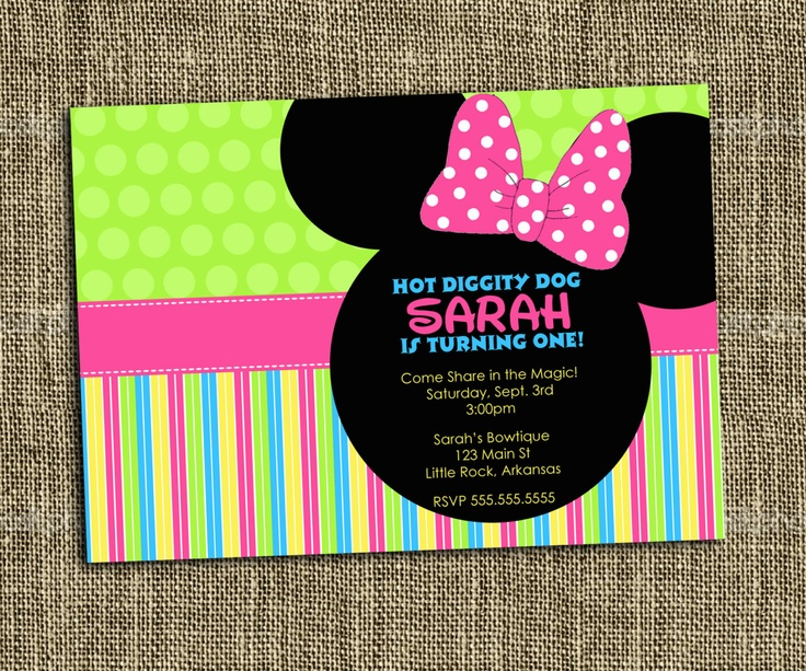 PRINTABLE INVITATION Minnie Mouse with a by MemorableMomentsSt, $15.00