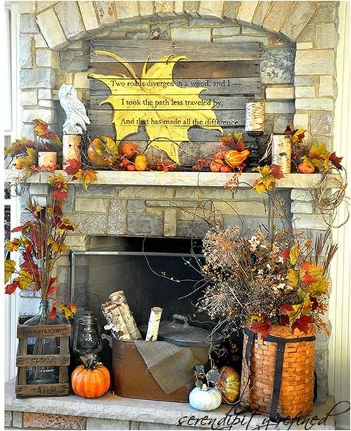 How Pretty Would This Be For An Outdoor Fireplace? Autumn Mantel, Pallet  Wood Sign By Serendipity Refined. Love The Idea Of The Huge Hand Painted  Maple Leaf ...