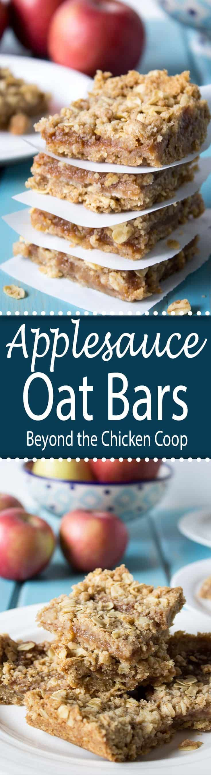 Layers of an oatmeal crumb crust with an applesauce filling make a delicious snack.  #oatmealbars #applesaucebars #dessert #snack