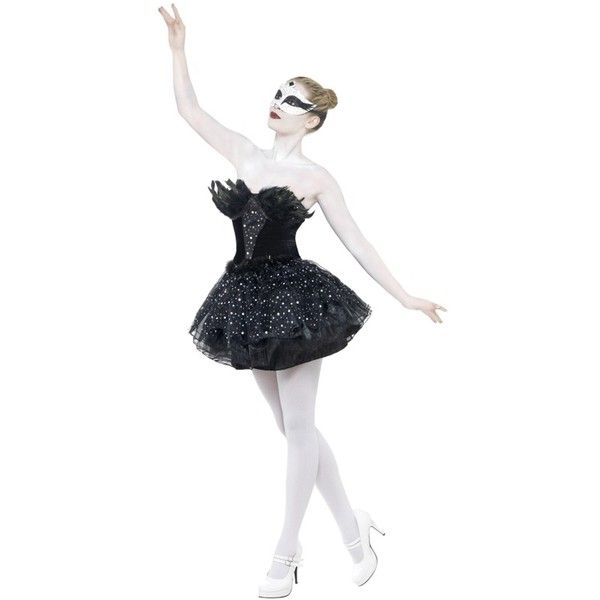 Gothic Swan Masquerade Costume ($49) ❤ liked on Polyvore featuring costumes, dresses, outfits, halloween costumes, sequin costume, dark costume, gothic halloween costumes, masquerade halloween costume and masquerade costumes