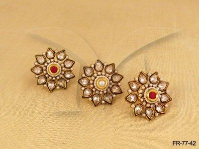 FR-77-42 || Flower Kundan Finger Ring