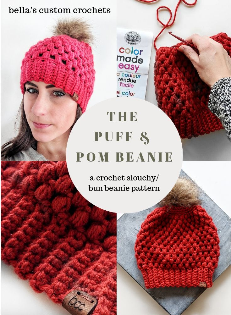 2102c6b5d28 The Puff  amp  Pom beanie from Bella s Custom Crochets- a quick  amp  easy