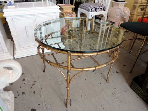 Faux Bamboo Gilt Table With Glass Top In Good As Found VINTAGE Condition.  There Are Scrapes, Scuffs And Patina To Original Finish.