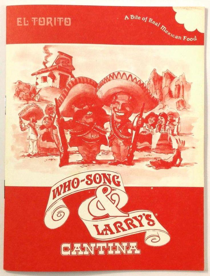 1981 Vintage Menu WHO SONG AND LARRY'S CANTINA El Torito Restaurant Orange CA
