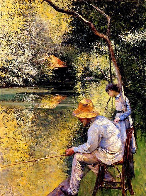 """""""Pêcheur au bord de l'Yerres"""" huile sur toile de Gustave Caillebotte (1848-1894) peintre français."""