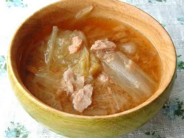 白菜とツナの和風スープの画像