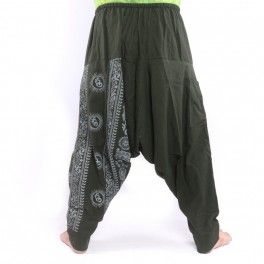 Aladdin Pants with Om / Floral Design Print – Olive
