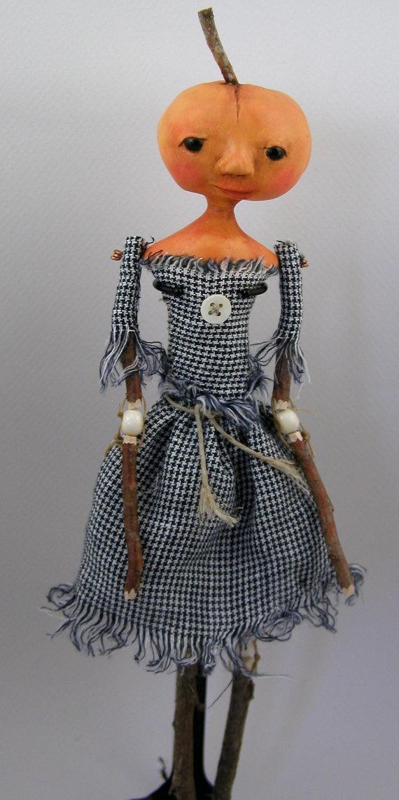 Contemporary Folk Art doll cloth clay Autumn by CindyRiccardelli, $100.00: Pumpkin Head, Halloween Pumpkin, Pumpkin Rag