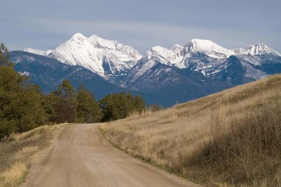 Photograph:The Mission Range segment of the northern Rocky Mountains is in northwestern Montana. The range trends northwest to southeast and...