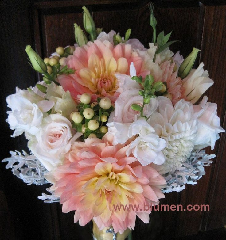 Wedding Bouquet Of Dahlias Garden Roses Freesia Lisianthus Hypericum And Dusty Miller