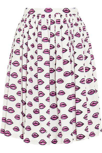 Prada - Printed Pleated Stretch-cotton Poplin Skirt - Pink - IT40