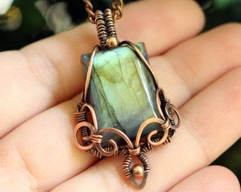 Wire wrapped pendant - Labradorite pendant - Copper pendant - Wire wrap jewelry - Copper jewelry