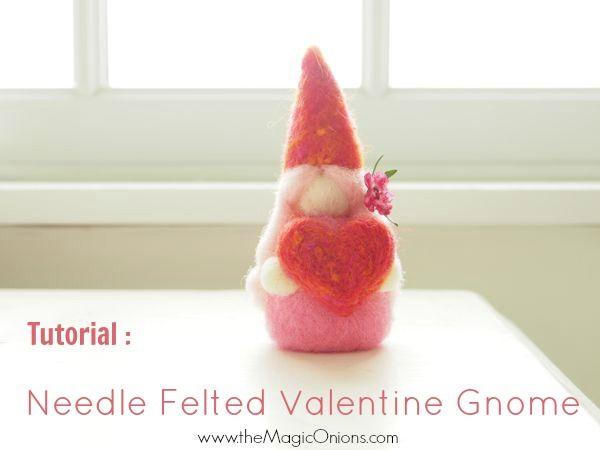 Needle Felting Tutorial : Valentine's Day Gnome : DIY