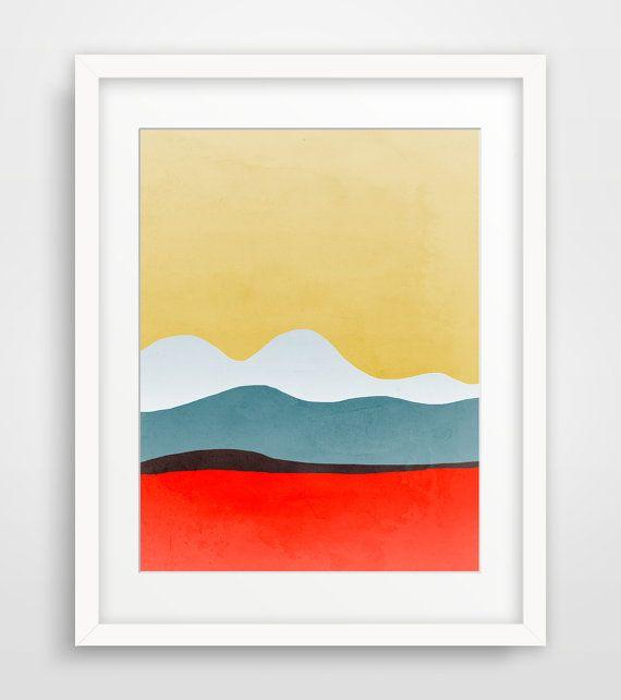 Wall Art Print, Abstract Art, Mid Century Modern Art, Abstract Landscape Art, Minimalist Art, Living Room Wall Decor