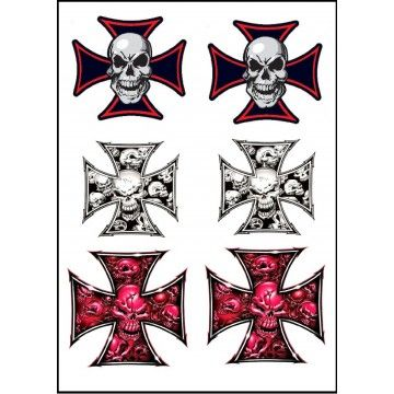 tatouage tête de mort et croix de malte