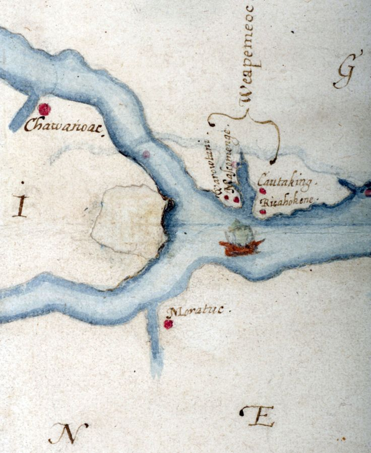 Article -- A new look at a 425-year-old map has yielded a tantalizing clue about the fate of the Lost Colony, the settlers who disappeared from North Carolina's Roanoke Island in the late 16th century.: Roanok Islands, 16Th Century, Maps Obsession, Chapel Hill, Lost Colonial, John White, British Museums, Roanok Colonial, North Carolina
