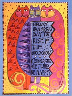 Front View of Laurel Burch Birthday Greeting Card