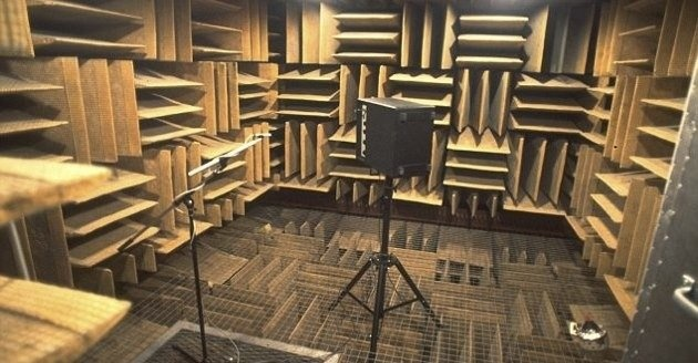 Theanechoic chamber atOrfield Laboratories in Minnesota can mute 99.99% of all sound, but visiting the silent oasis isn't as calming as you might expect.  In a room where almost 100% of sound is muted, people begin to hear things like their own heartbeat at a greatly amplified volume. As the minutes tick by in absolute quiet, the human mind begins to lose its grip, causing test subjects to hallucinate.