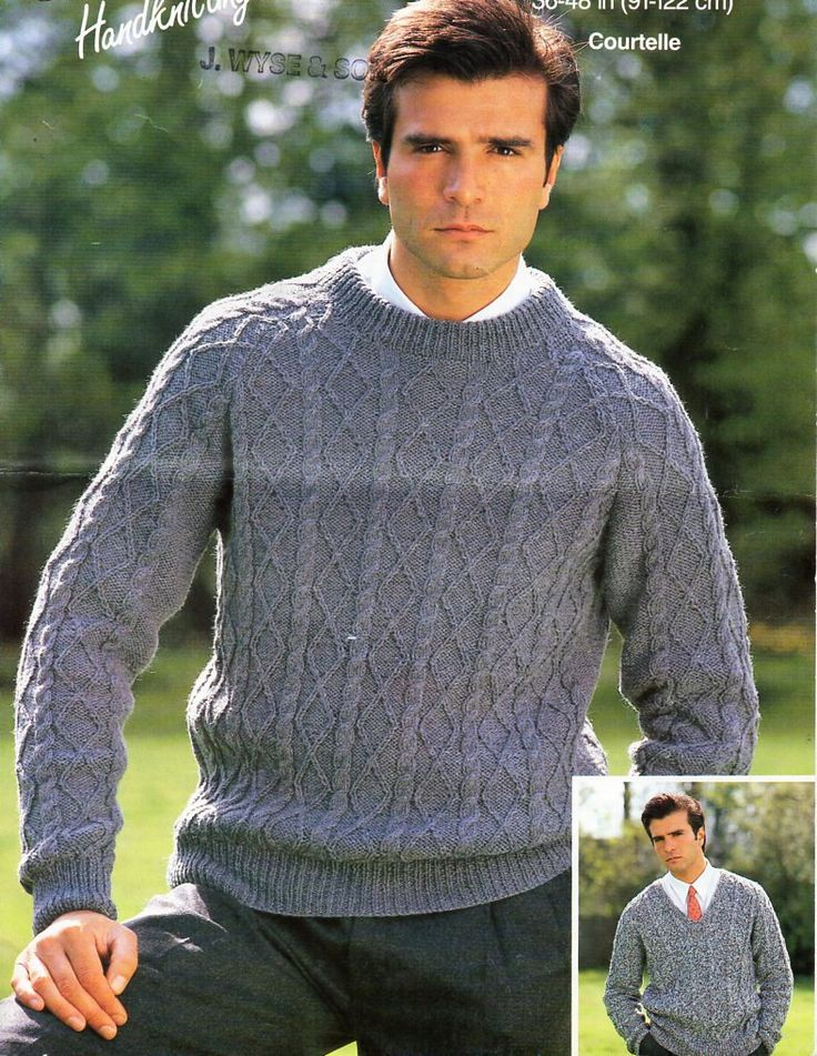 mens aran sweaters knitting pattern PDF DK mans cable jumpers v or round neck 36-48 inch DK light worsted 8ply instant download by Hobohooks on Etsy