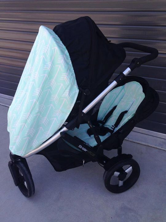 Pram swag and pram liners in mint arrow from bambelladesigns.com.au